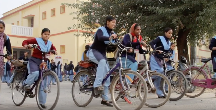 Girls in Behar try out the bicycles provided for them. (Photo credit: International Growth Centre)