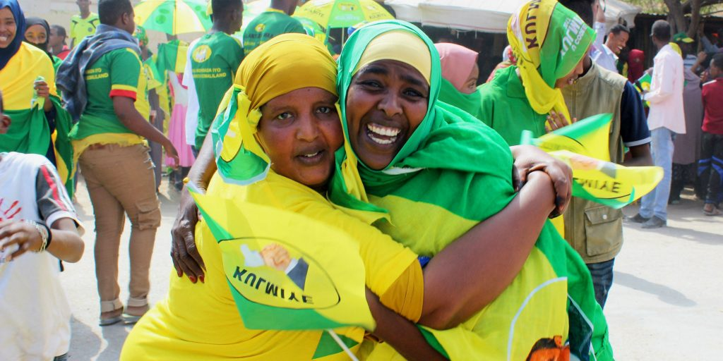 Women campaigning for the Peace, Unity and Development Party — also known as Kulmiye — the ruling political party in Somaliland. (Photo credit: Megan Iacobini de Fazio)
