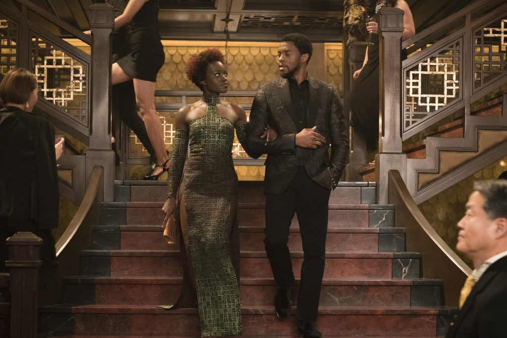 Nakia (Lupita Nyong'o) and T'Challa/Black Panther (Chadwick Boseman). (Photo credit: Matt Kennedy. ©Marvel Studios 2018)