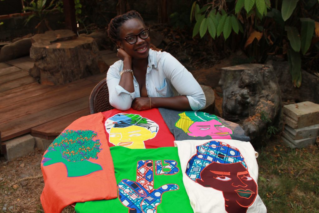 Simone Witherspoon, a T-shirt designer, credits Cooper with helping today's young female entrepreneurs in Liberia grow as professionals through raising standards and providing constructive feedback. (Photo courtesy of Myeonway Designs)