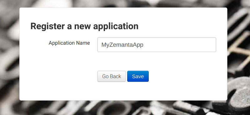 New application registration form