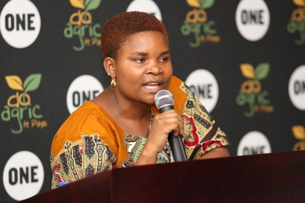 Elizabeth Nsimadala, a farmer from Uganda, speaks at the DO AGRIC launch in Addis Ababa.