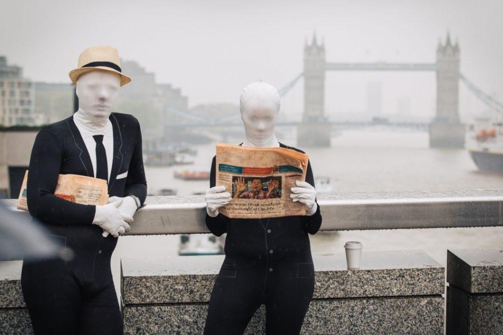 Photo : action coup de poing dirigée par les équipes de ONE à Londres. Photo : the ONE Campaign