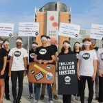 The ONE team in Brussels arrive blindfolded at the European Parliament to hand in thousands of tweets, calling for new transparency laws to tackle global corruption. Photo: ONE