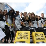 Youth Ambassadors in the UK campaigning at the Conservative Party Conference to tell guests about the Trillion Dollar Scandal and ask for their support.  Photo: ONE