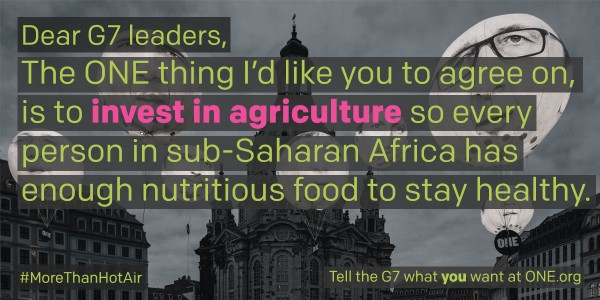 ONE's policy objective on agriculture at the G7 Summit.