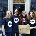 Charlotte, Elena, Erin, and Rachel deliver our Just Say Yes petition to Number 10 Downing Street