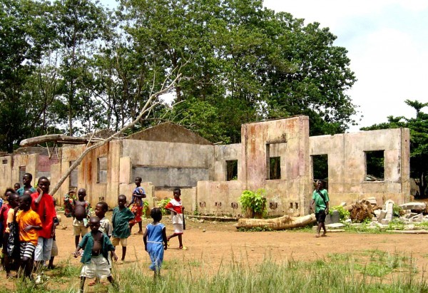 Children play by an abandoned school, Sierra Leone Copyright: wikipedia.org