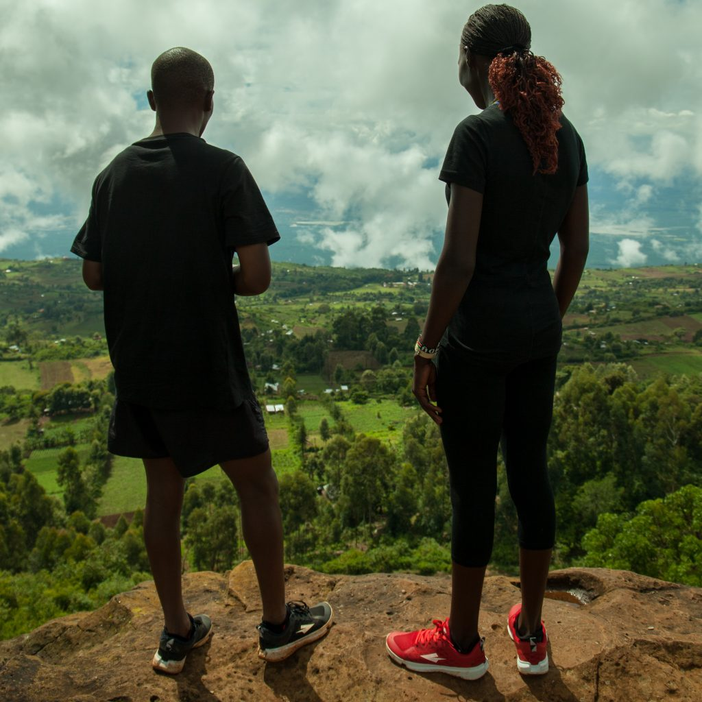 Runners Joan Cherop (right) and Justin Lagat (left) in Kenya.