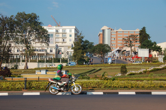 Kigali is the modern Capital city of Rwanda. The Boda Boda riders insists on one passenger only and helmets must be worn. Photo Credit: Dylan Walters/Flickr