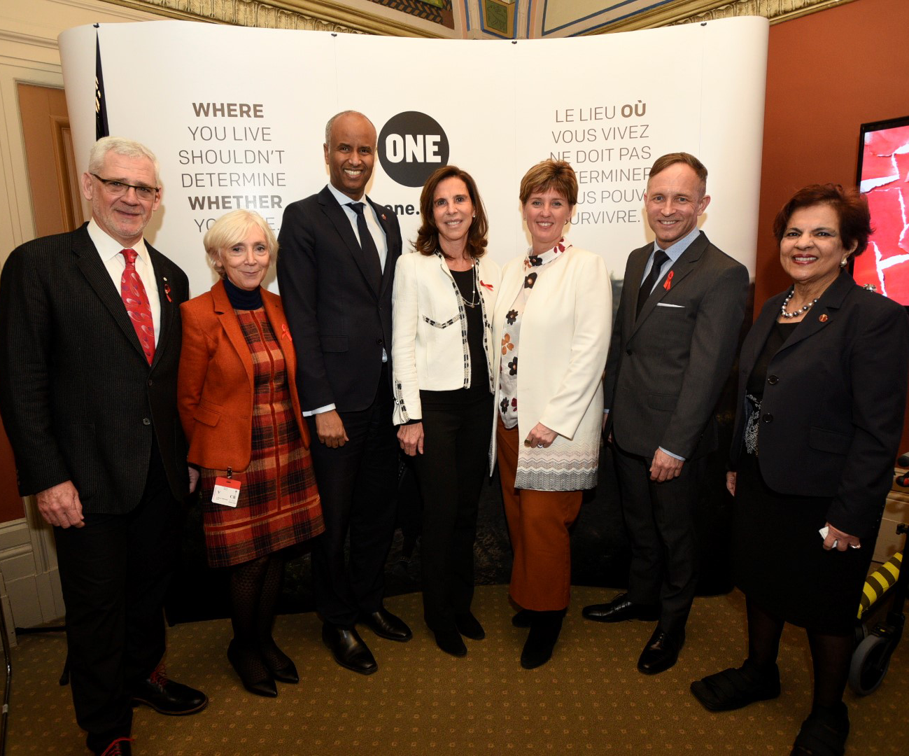 World AIDS Day (December 1st) was marked by the ONE Campaign with a reception on Parliament Hill. Pictured left to right: Dr. Julio Montaner, Director of the British Columbia Centre for Excellence in HIV/AIDS; Dr. Carole Presner, Global Fund for AIDS, Tuberculosis and Malaria; The Hon. Ahmed Hussen, Minister of Immigration, Refugees and Citizenship; Her Excellency Kareen Rispal, Ambassador of France to Canada; The Hon. Marie-Claude Bibeau, Minister of International Development; Mr. Stuart Hickox, Canada Director for The ONE Campaign; and Senator Mobina Jaffer.