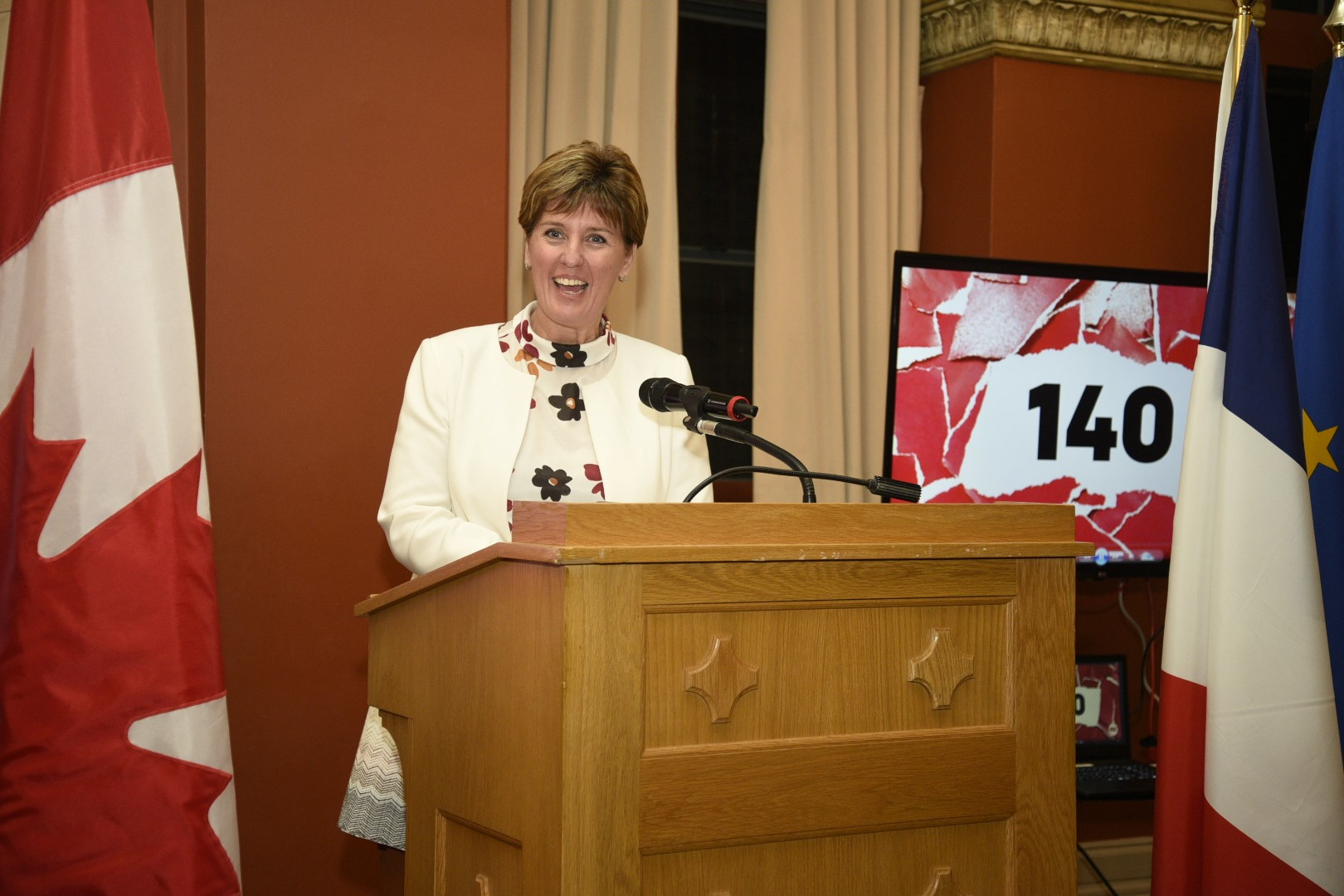 The Hon. Marie-Claude Bibeau speaks about the importance of work done by groups like RESULTS Canada, the Interagency Coalition on AIDS and Development, the Global Fund Advocates Network and the ONE Campaign to the results achieved at the Fifth Replenishment Conference of the Global Fund to fight AIDS, Tuberculosis and Malaria.