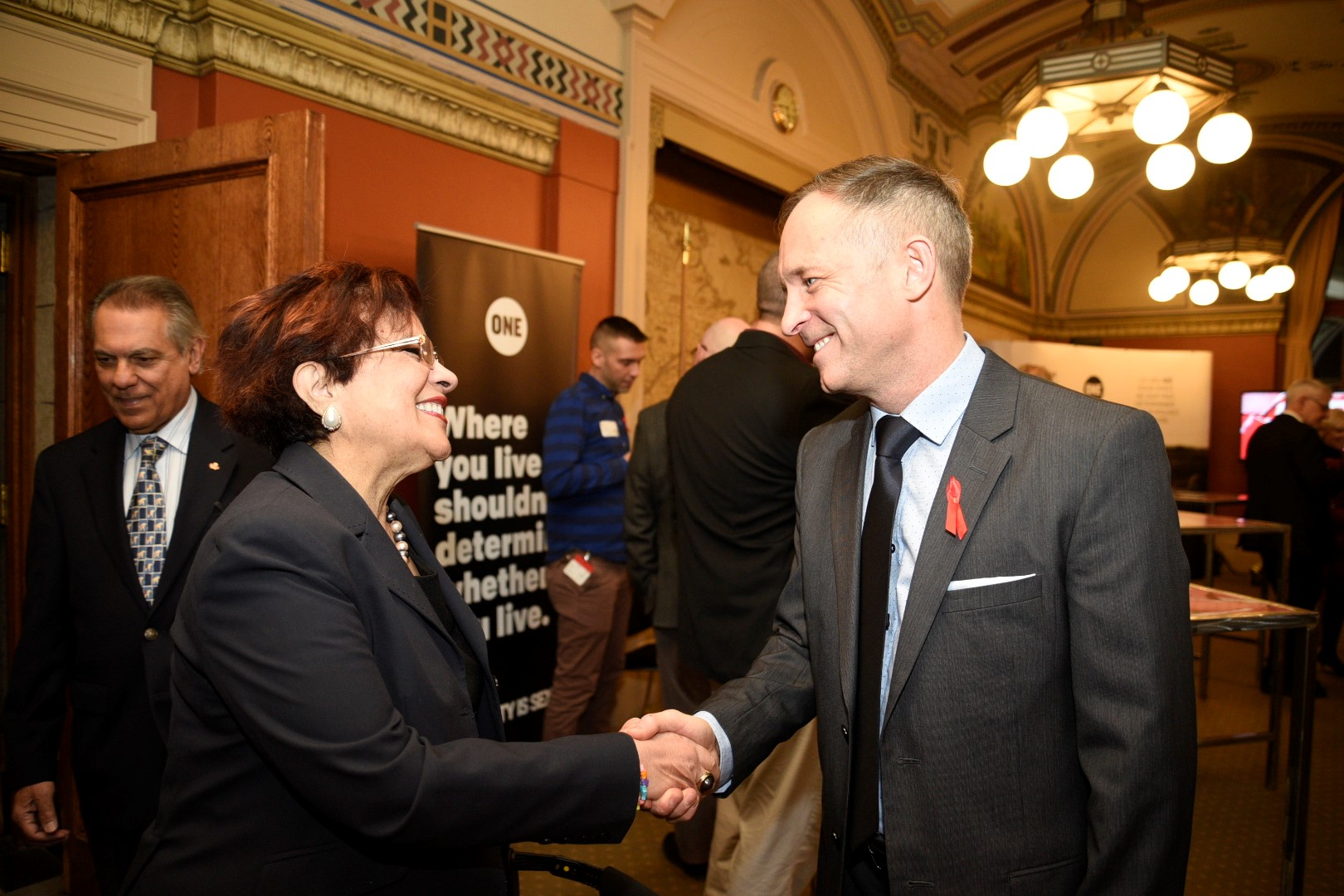 """Mr. Stuart Hickox, The ONE Campaign's Canada Director (seen here with Senator Mobina Jaffer), highlighted that AIDS remains the number one killer of women age 15 - 49 globally and that the Global Fund Replenishment Conference in 2019 must be a turning point - """"if we don't move faster than the virus, than it will win""""."""