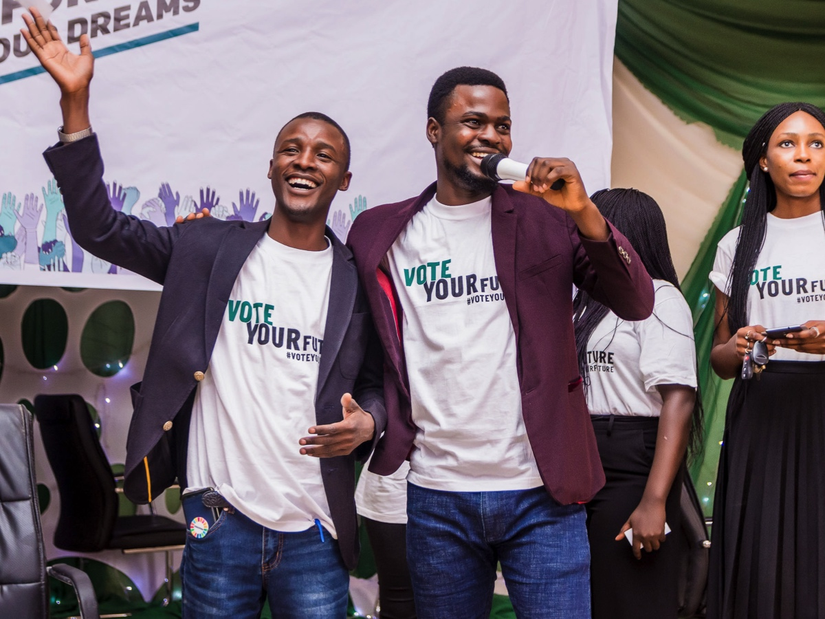 ONE Champion Ibrahim Abubakar (left) and ONE Campaigns Assistant Olalekan Obisesan in Kaduna State University, Kaduna.