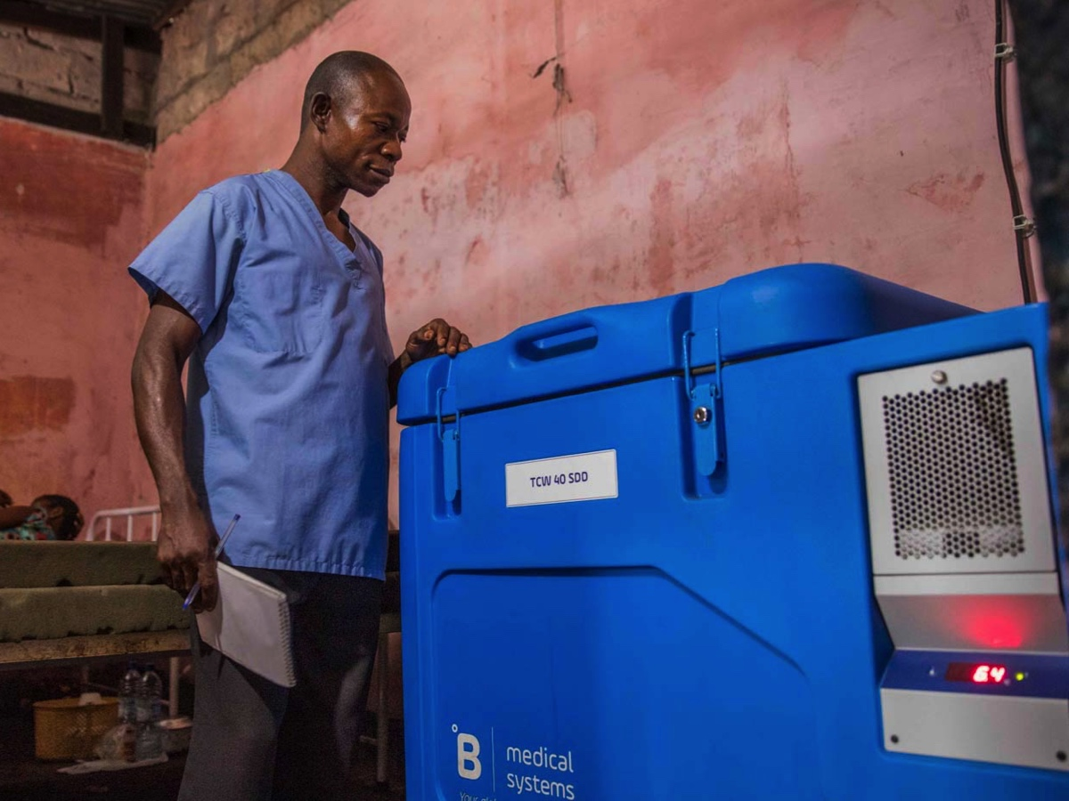 Health worker Victor received a solar fridge to store vaccines last year.