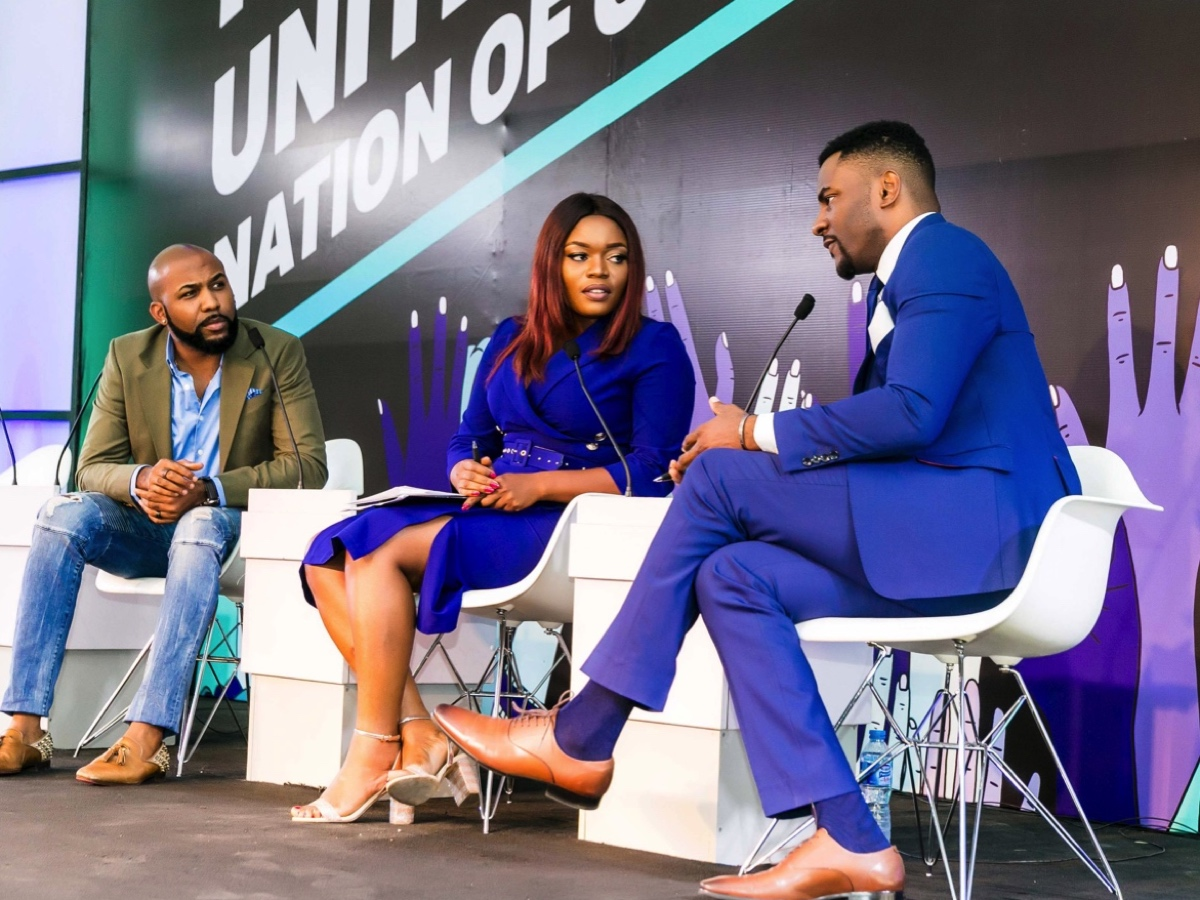 The #VoteYourFuture launch in Nigeria's capital Abuja. Banky W (left), Bisola (centre) and Ebuka Obi-Uchendu (right).
