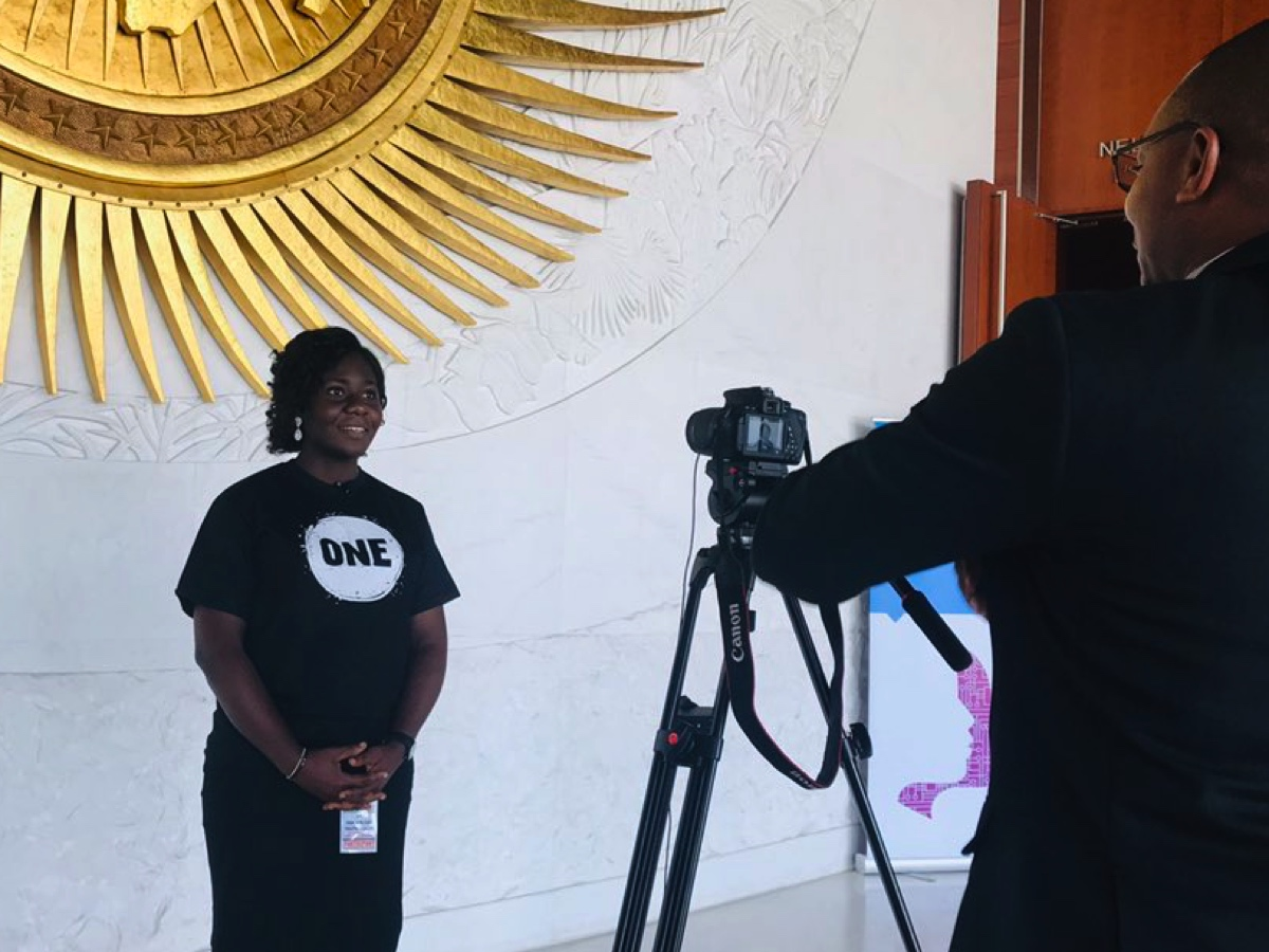 ONE Champion Chidinma Ibemere talks about her work on girls education with the media at the Pan African Youth Forum.