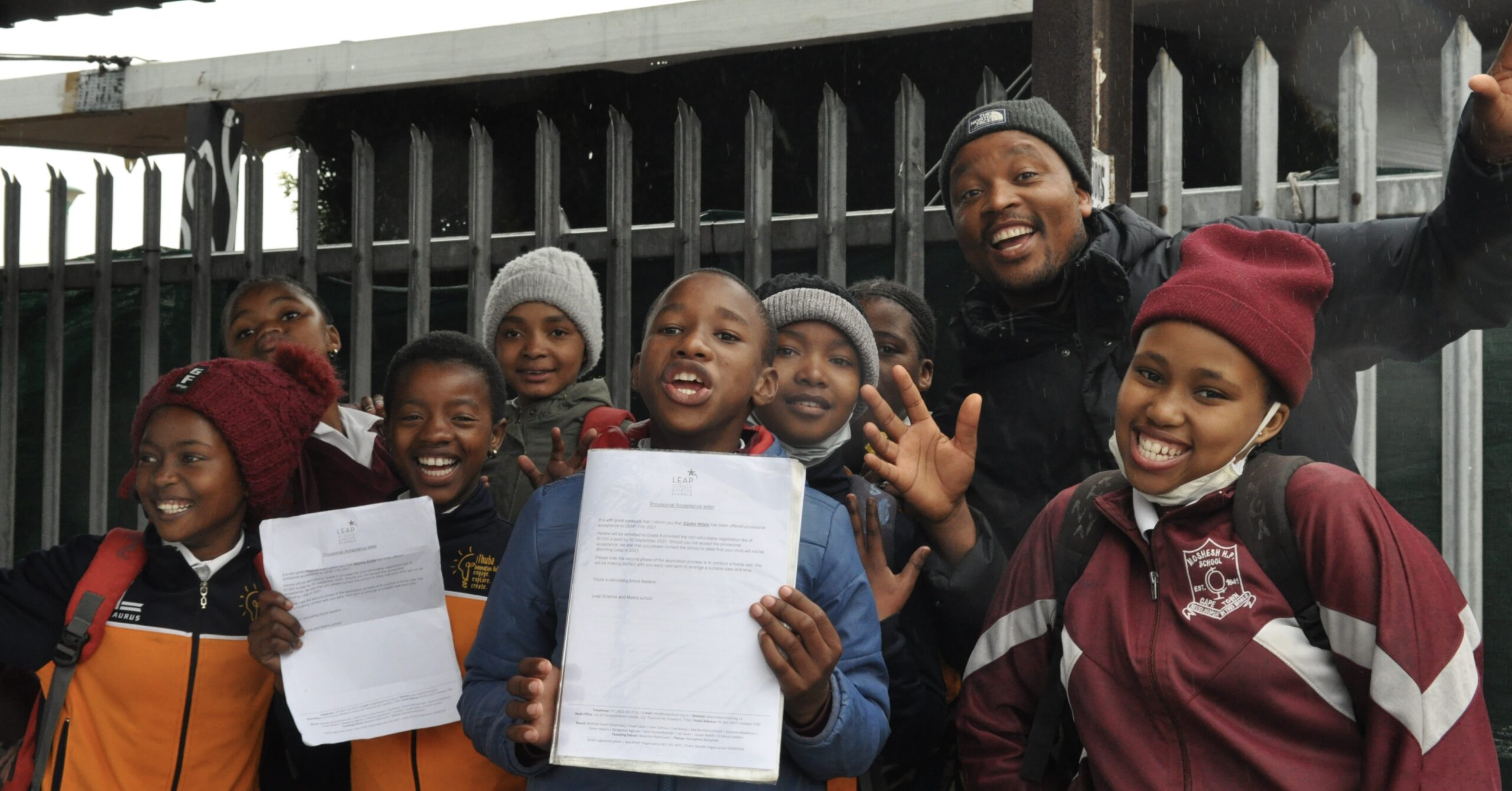 Siviwe with students who got into LEAP.