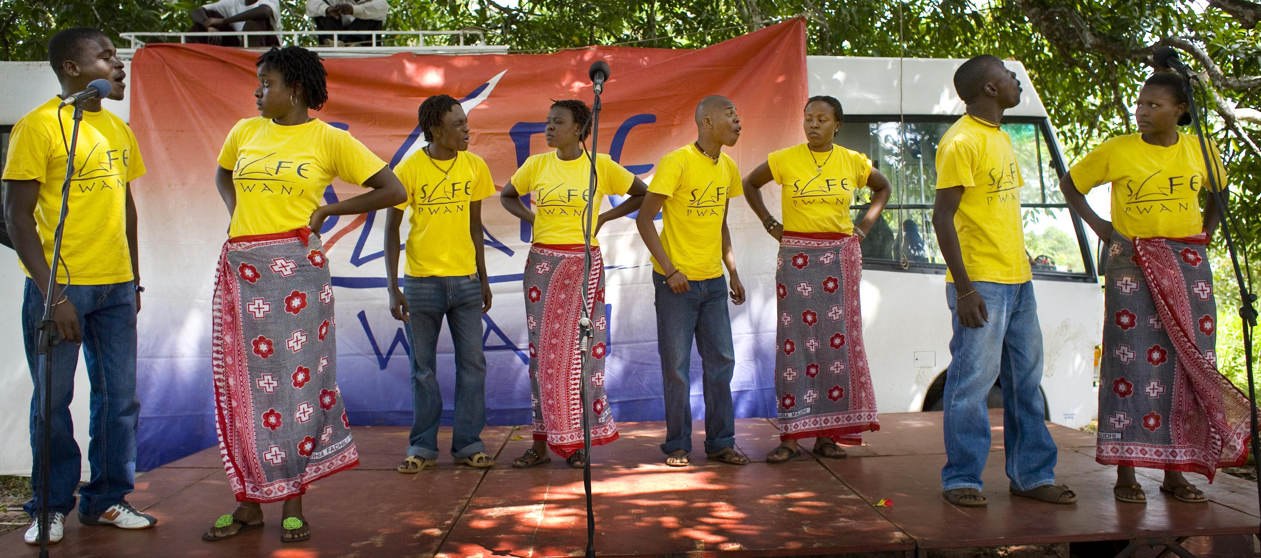 S.A.F.E.'s Coastal team, SAFE Pwani, perform a play about HIV and AIDS.