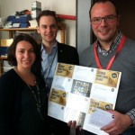 Saïd El Khadraoui, a Belgian MEP from Progressive Alliance of Socialists and Democrats Group, receiving a sample of postcards from ONE staff Claire Fourçans and Leander Leenders.