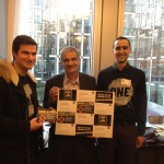 French ONE members hand in a sample of postcards to Jean-Paul Besset, French MEP from the Greens party