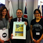 Timothy Kirkhope, MEP, with ONE staff Eloise Todd and Tamira Gunzburg and the message of over 50,000 ONE members.  Photo: ONE