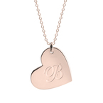 Engraved Heart Initial Necklace