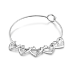 Engraved Hearts Charm Bracelet for Mom