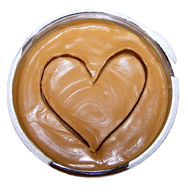 heart drawn in peanut butter
