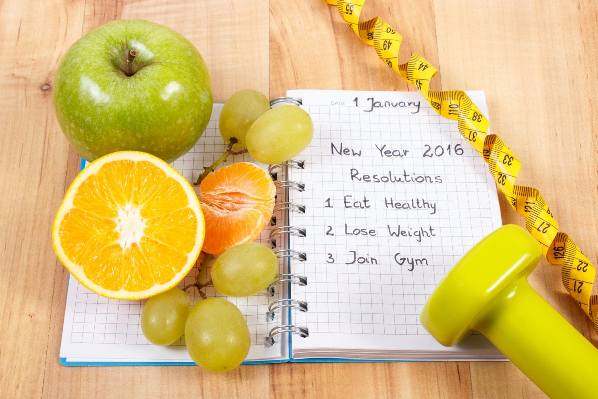 New Years Resolutions Written In Notebook And Fruits, Dumbbells