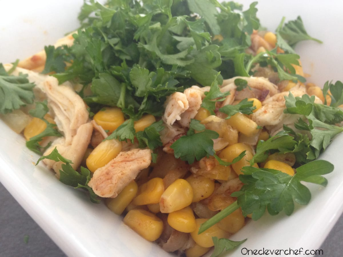 Mexican Style Warm Corn Salad With Chicken & Cilantro