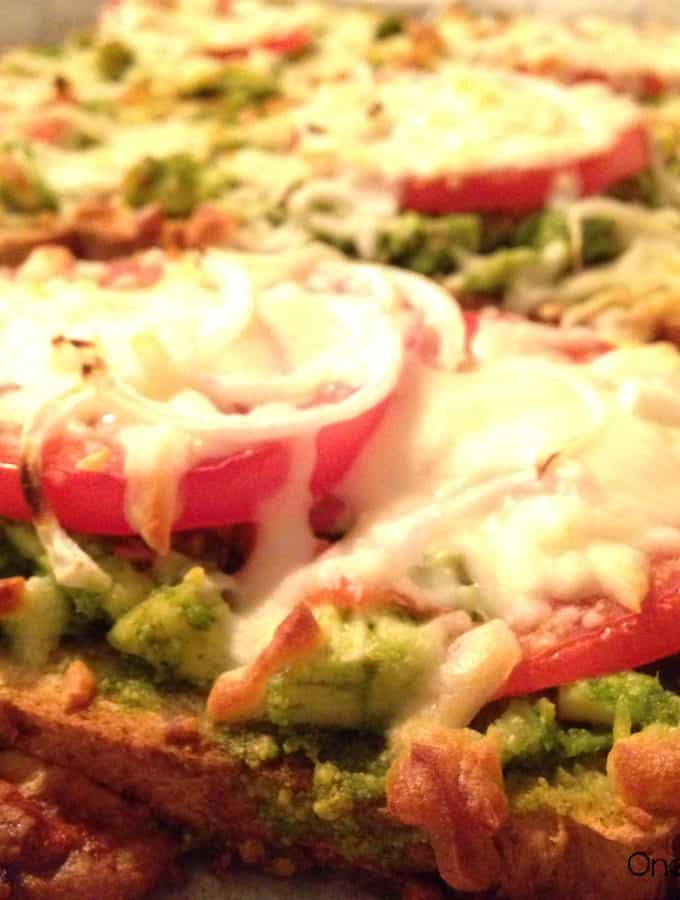 Open-Face Melted Mozzarella Sandwich With Spinach Pesto Chicken