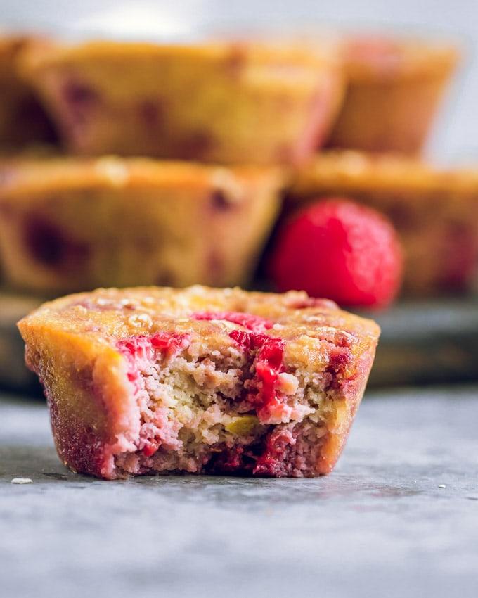 Lemon Raspberry muffin with a bite taken