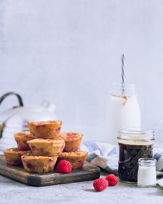Lemon raspberry muffins on a cutting board