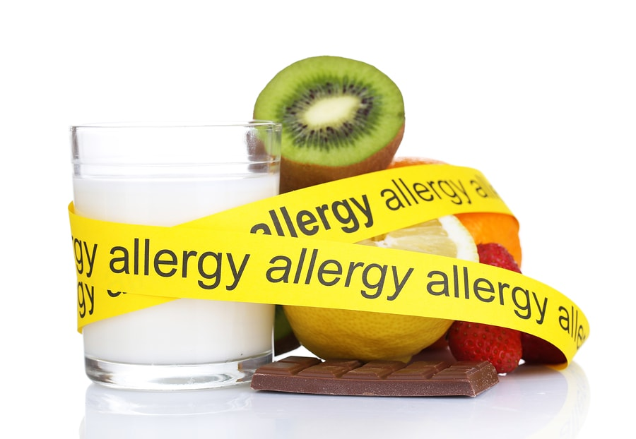 """allergenic food attached with yellow tape saying """"allergy"""""""