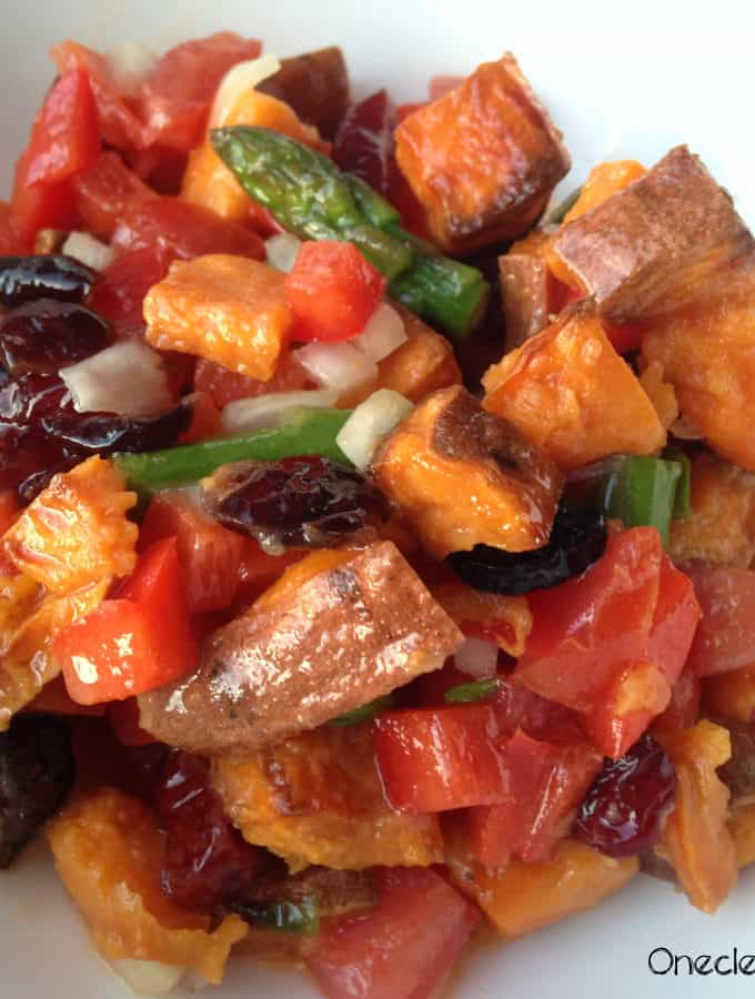 Roasted Sweet Potato Salad With Cranberries & Asparagus