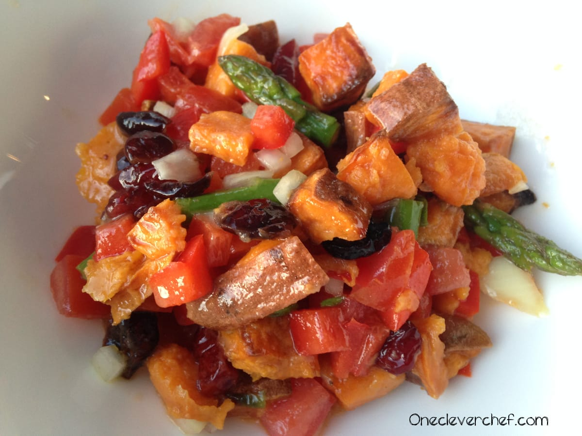 Roasted Sweet Potato Salad With Cranberries Asparagus One Clever Chef