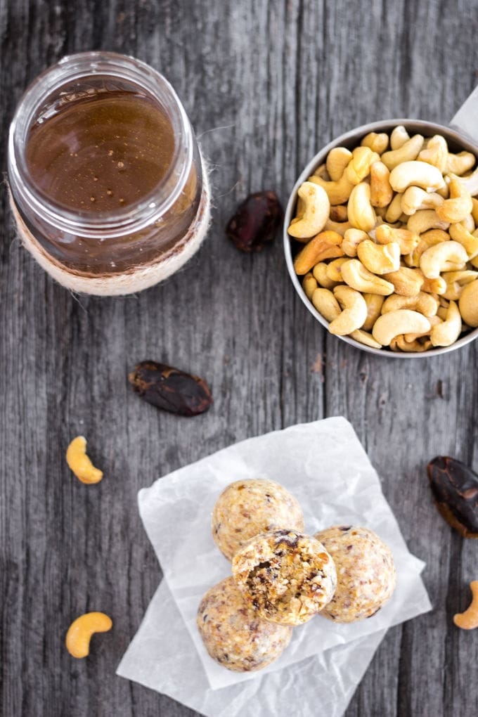 Tahini Protein Balls - I LOVE this quick and easy, 5-ingredient, no-bake healthy snack. Paleo, Gluten-Free and naturally sweetened with dates. Real Food! | Onecleverchef.com