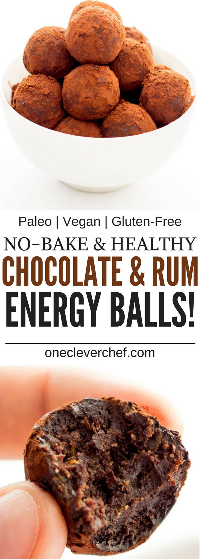 These Healthy Chocolate & Rum Balls are the perfect no-bake snack. They are easy to make, protein-packed and perfect either as a dessert or a post-workout lunch. Made in one bowl and ready under 15 minutes, theya re also paleo, vegan, gluten-free and dairy-free | www.onecleverchef.com