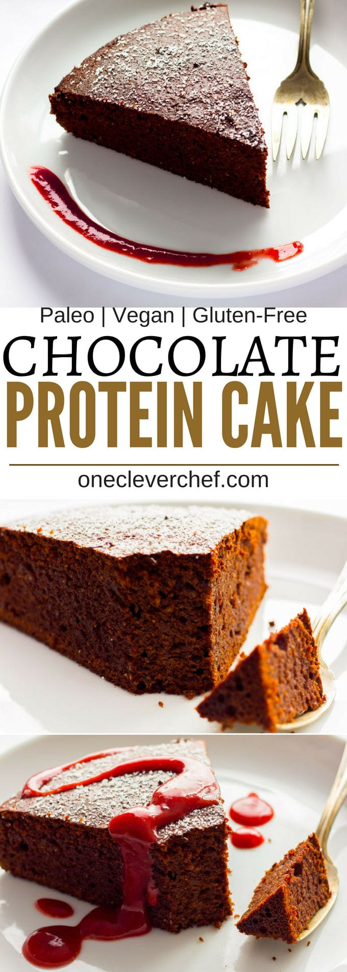 This chocolate flavored vegan mud cake is dense, fudgy, rich and so satisfying! Healthy to boot, flourless and refined sugar-free, there is no shame in having a second piece of this guilt-free decadent dessert. With a whopping 14 grams of protein per portion, go ahead and reward yourself after that hard workout with a huge piece, you deserve it! Paleo and Gluten-Free. | www.onecleverchef.com