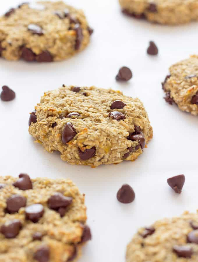 Ready under 20 minutes, these healthy, chewy and soft banana & oatmeal cookies are made with only 3 simple ingredients. They are a very simple and light version of the traditional oatmeal cookie with added dark chocolate chips. Flourless, eggless, low-calorie and low-fat these delicious cookies are made without butter, brown sugar or baking soda. Most homemade traditional oatmeal cookie recipes require that the dough is chilled before cooking, well, no need to refrigerate the dough for that recipe as the preparation holds very well on its own. Paleo, vegan, gluten-free and dairy-free this recipe is friendly to most diets trending right now. Are you on a low cholesterol diet? Give these a shot!
