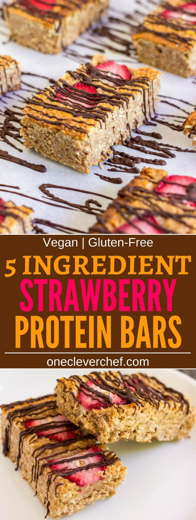 These healthy strawberry protein bars are made with only 5 ingredients. Convenient and quick, this delicious snack packs a lot of nutrients and is guaranteed to fill you up until lunch on a busy day. Vegan, Gluten-Free, Dairy-free and flourless these bars are friendly to most popular diet trends. | www.onecleverchef.com