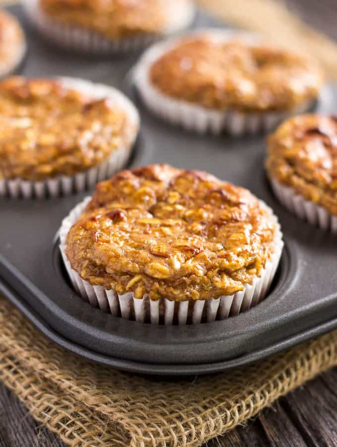 I love these super moist and tender apple protein muffins. These yummy little ones are protein-packed, 100% healthy, naturally sweetened with maple syrup (could be replaced with honey) and extra easy to make. They are the perfect on-the-go clean eating breakfast or post-workout lunch. These are also gluten-free, dairy-free and can be made vegan by replacing the eggs with flax eggs or applesauce. | www.onecleverchef.com