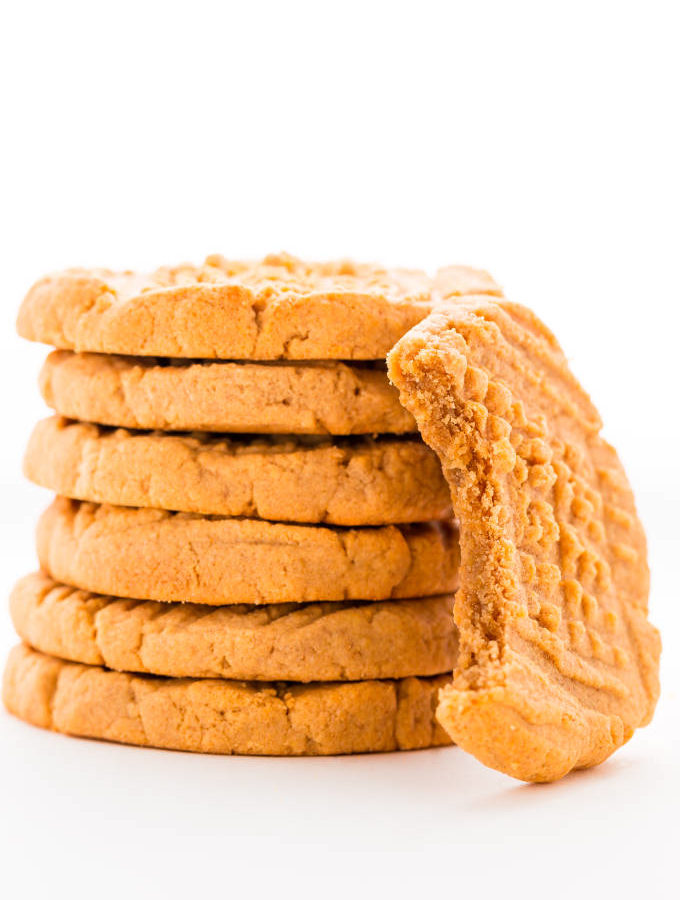 Peanut butter protein cookies stacked.