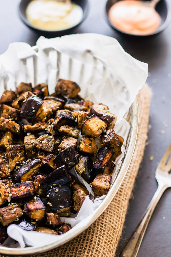 Oven Roasted Eggplant Cubes with Balsamic Vinaigrette ...