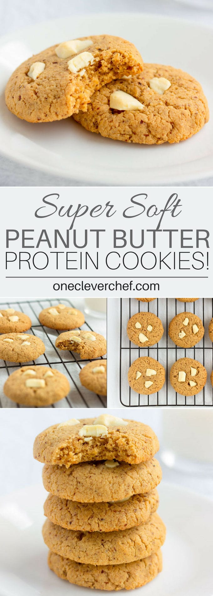 These almond flour & peanut butter protein cookies are my new addiction. Made with only 6 simple ingredients and one bowl, these quick and easy cookies can be whipped up and baked under 20 minutes. Naturally sweetened with coconut sugar, these contain11 grams of protein per cookie and are entirely gluten-free, paleo, dairy-free, refined sugar-free, flourless, grain-free and can easily be made egg-free and vegan by simply replacing the eggs with flax eggs. Sooootasty! | www.onecleverchef.com