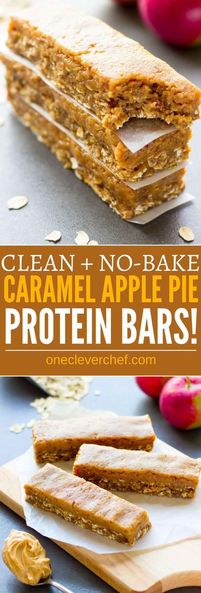 These delicious no-bake protein bars are a must-try fall season treat. Easy to make and super healthy, they taste like your grandma's caramel apple pie, without the calories, refined-sugar and all the bad stuff. Raw, entirely gluten-free, vegan, dairy-free, egg-free, flourless and refined sugar-free, these delicious protein bars are the perfect breakfast, snack or post-workout treat. | www.onecleverchef.com