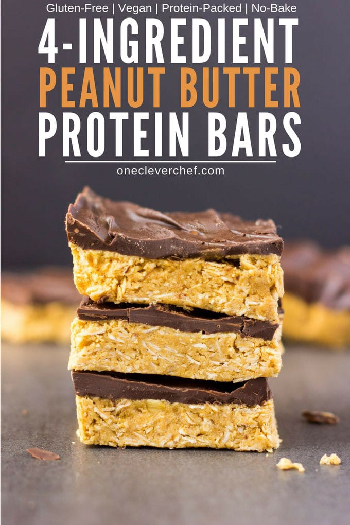 These 4-ingredient peanut butter & oatmeal bars are healthy, no-bake, and protein-packed. These delicious, clean eating Reese flavored protein bars are the perfect post-workout treat. Quick and easy to make, it only takes one bowl and a few minutes of your time to whip those up. Rolled oats are used for the base of this flourless recipe, which is also vegan, dairy-free, gluten-free and... guilt-free! | www.onecleverchef.com