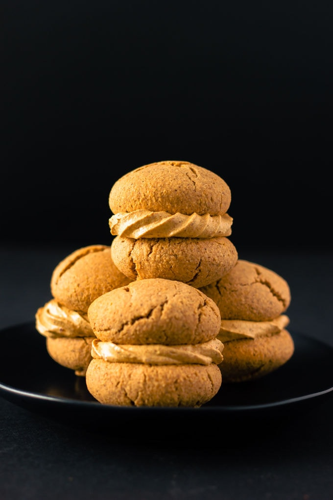 Apple Pie Flavored Vegan Protein Cookies with a salted caramel filling! Healthy, simple and naturally sweetened. Vegan, gluten-free, dairy-free and egg-free recipe. | onecleverchef.com