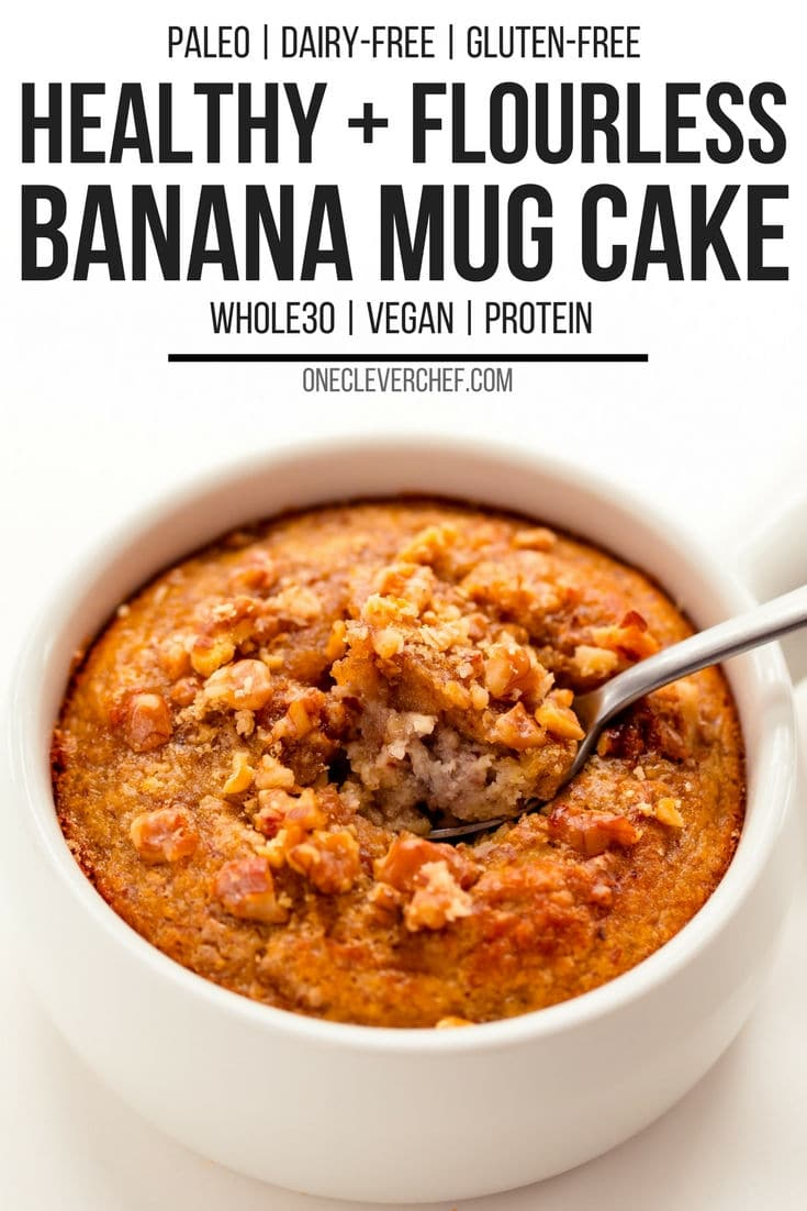 Banana mug cake with a spoon scooping up a bite. With text overlay.